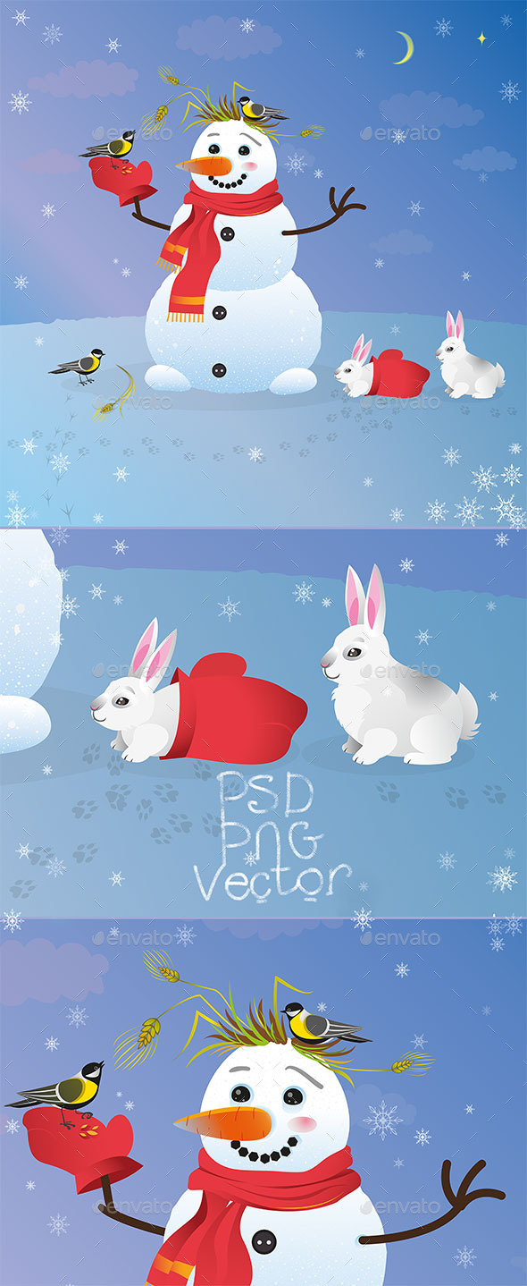 Snowman with Birds and Bunnies - Miscellaneous Characters