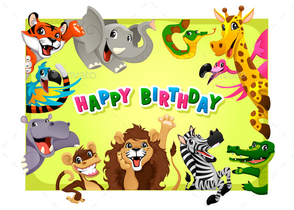 Happy Birthday Card with Jungle Animals - Animals Characters