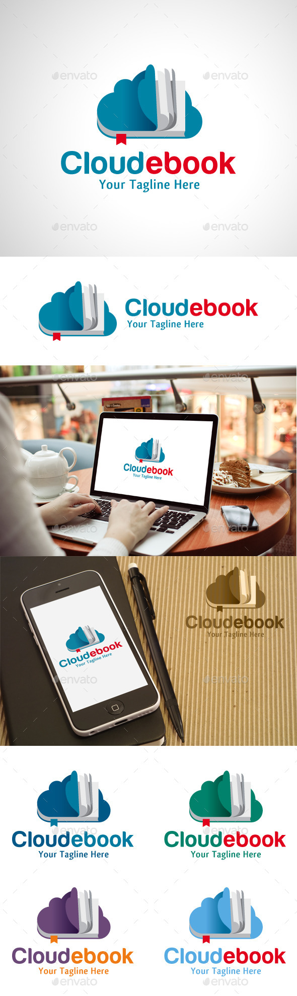 Cloud Ebook Logo - Objects Logo Templates