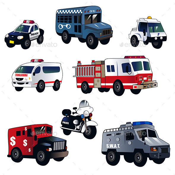 Cartoon Law Enforcement Cars - Miscellaneous Vectors