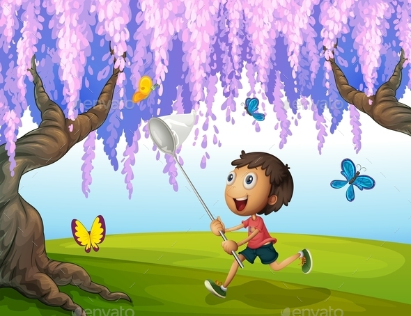 Boy Catching Butterflies  - People Characters