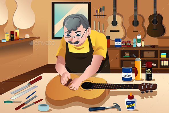 Guitar Maker Working in His Shop - People Characters