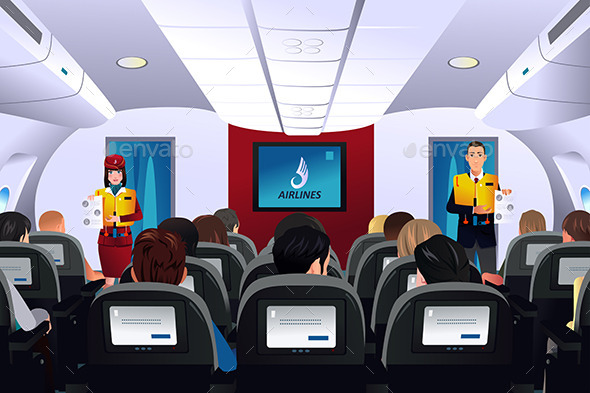 Flight Attendant Showing Safety Procedure - Travel Conceptual