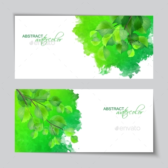 Watercolor Banners with Green Leaves - Flowers & Plants Nature