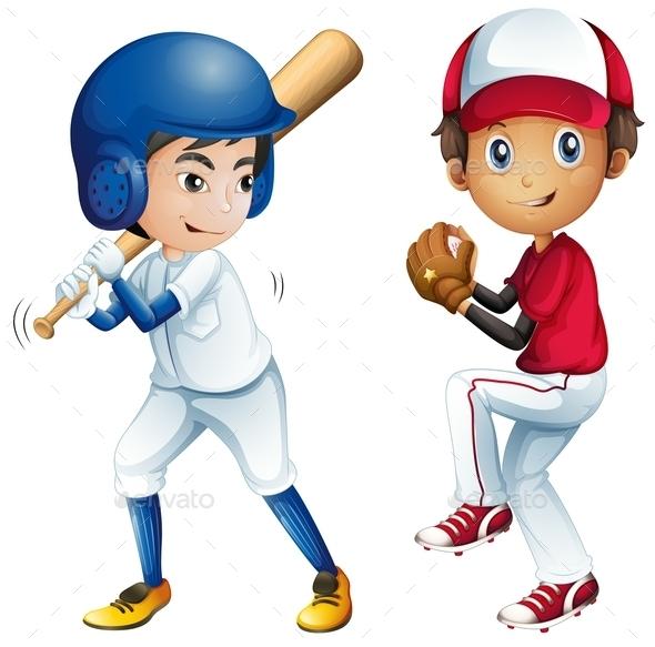 Kids Playing Baseball - People Characters