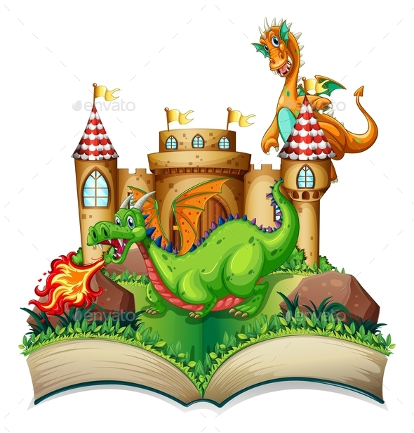 Dragon and Book - Animals Characters