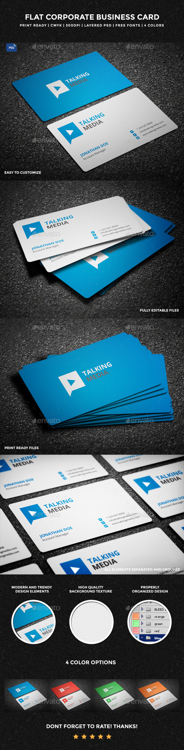 Flat Corporate Business Card - 13 - Corporate Business Cards