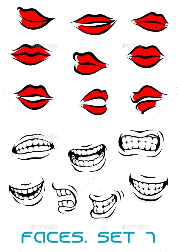 Cartooned Lips and Mouth Set - Miscellaneous Characters