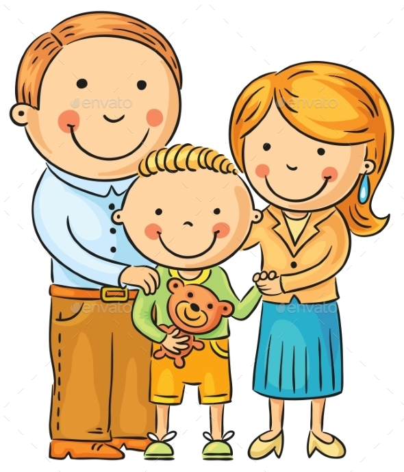 Happy Family with a Little Son - People Characters