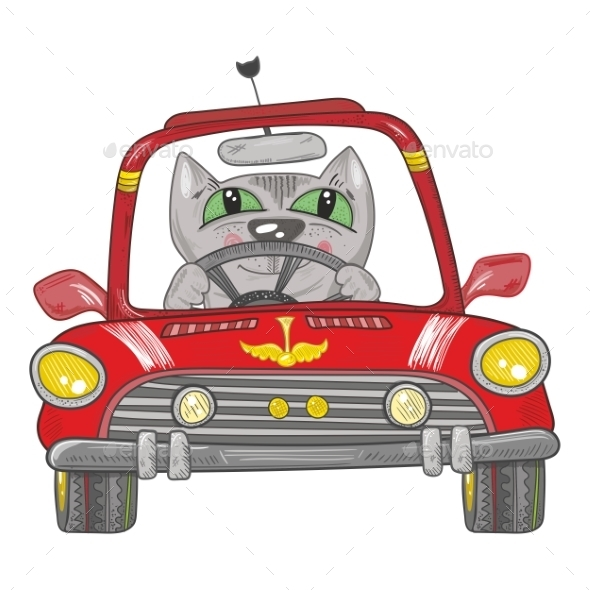 Cat on the Car - Animals Characters