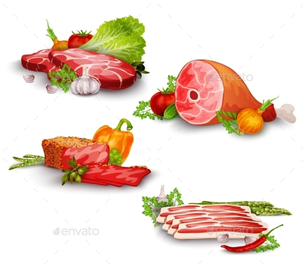 Meat with Vegetables Set - Food Objects