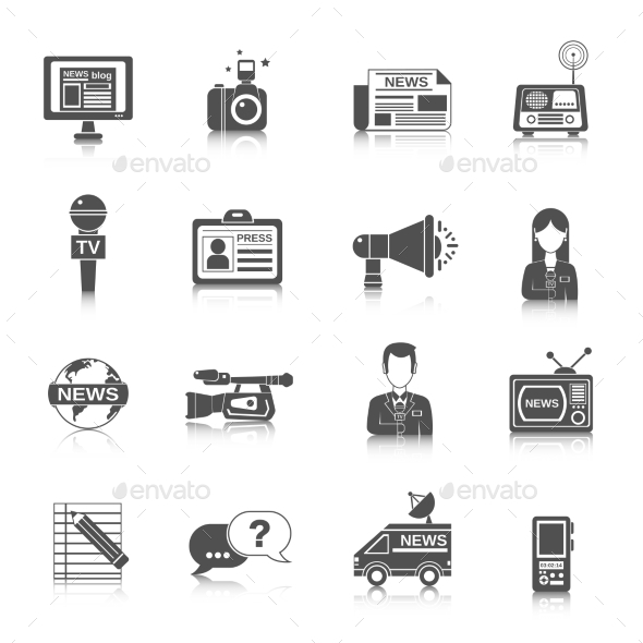 Journalist Icon Black - Business Conceptual