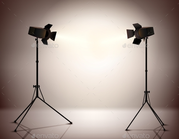Standing Spotlights Background - Objects Vectors