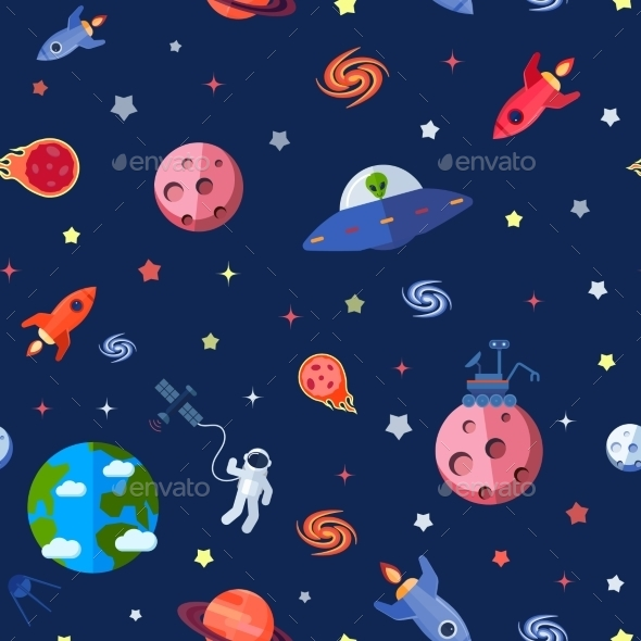 Space Seamless Pattern - Backgrounds Decorative