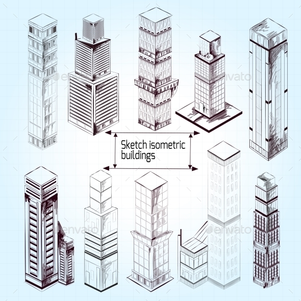 Sketch Isometric Buildings - Buildings Objects