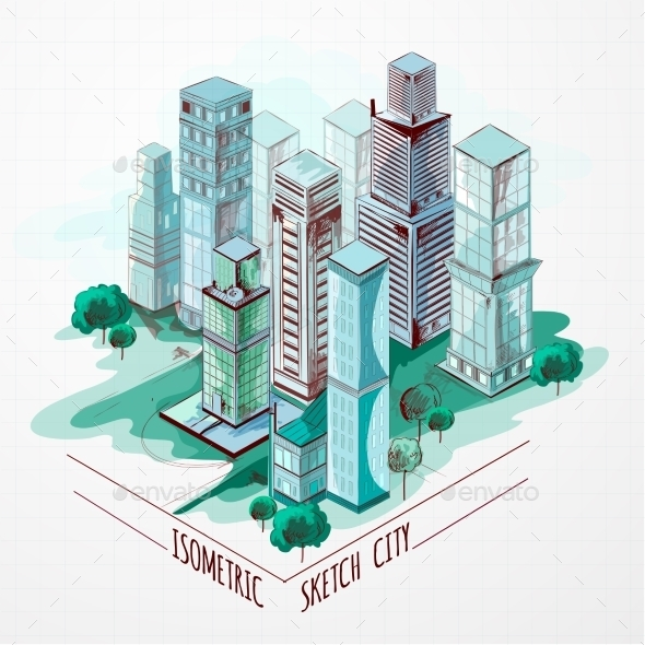 Isometric Sketch City Colored - Buildings Objects