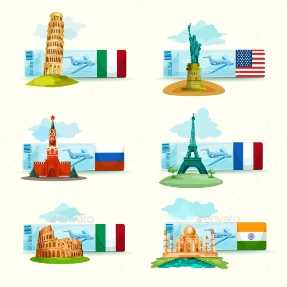 Landmarks Tickets Set - Travel Conceptual