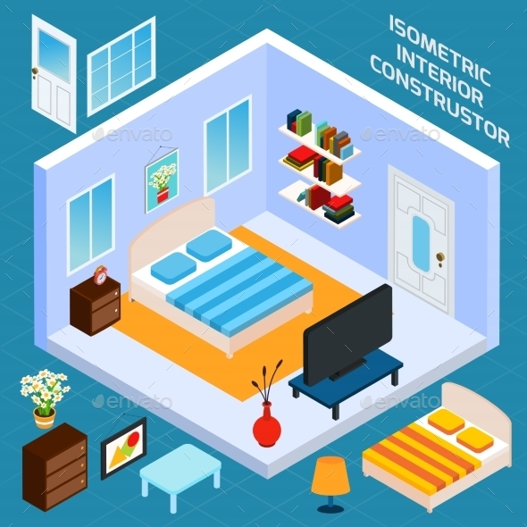 Isometric Bedroom Interior - Buildings Objects