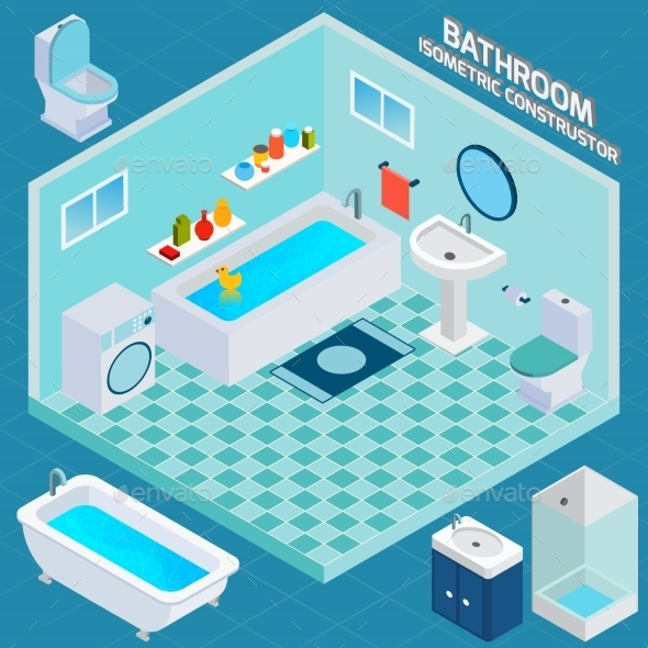 Isometric Bathroom Interior - Buildings Objects