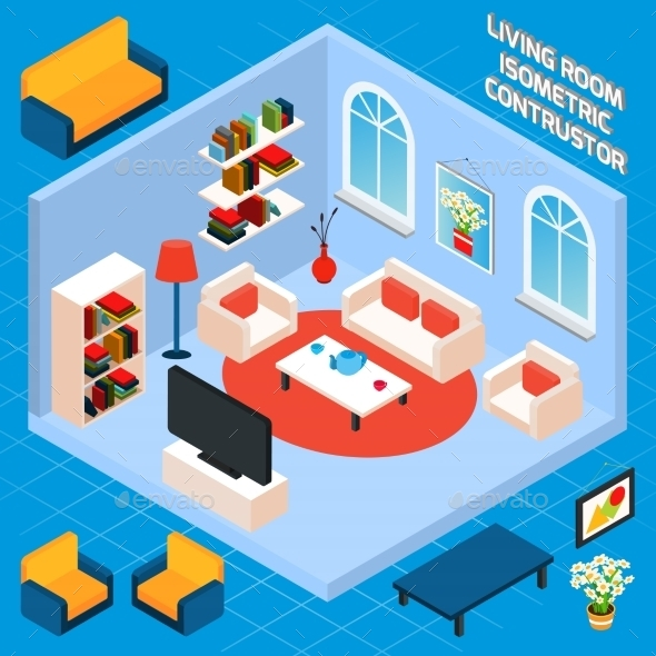Isometric Living Room Interior - Buildings Objects