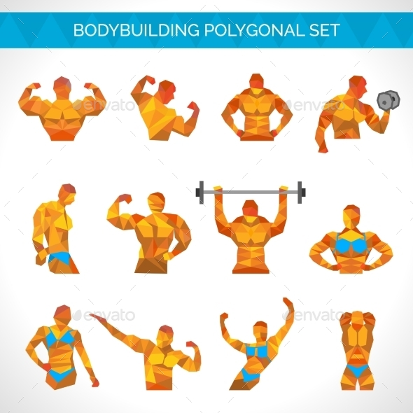 Bodybuilding Polygonal Icons Set - People Characters