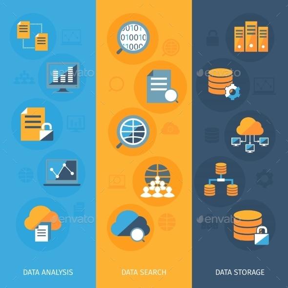 Big Data Vertical Banners Set - Web Technology