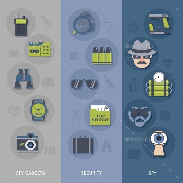 Spy Gadgets Banners Set - Miscellaneous Vectors