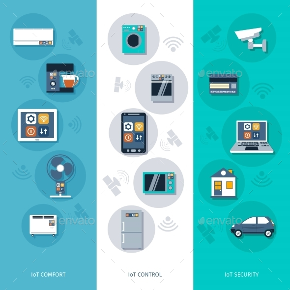 Internet of Things Flat Banners Set - Web Technology