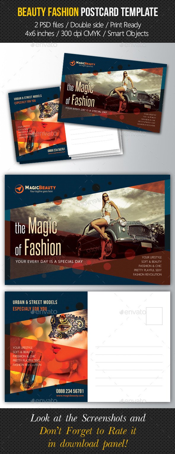 Beauty Fashion Postcard V03 - Cards & Invites Print Templates