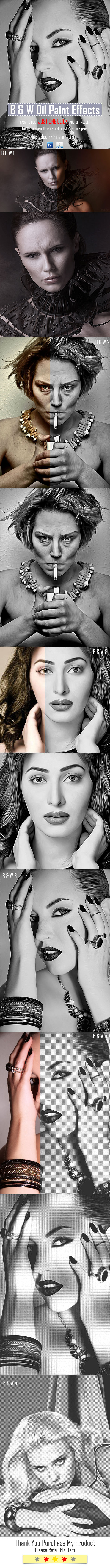 B & W Oil Paint Effects - Photo Effects Actions