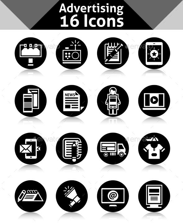 Advertising Icons Black - Web Elements Vectors