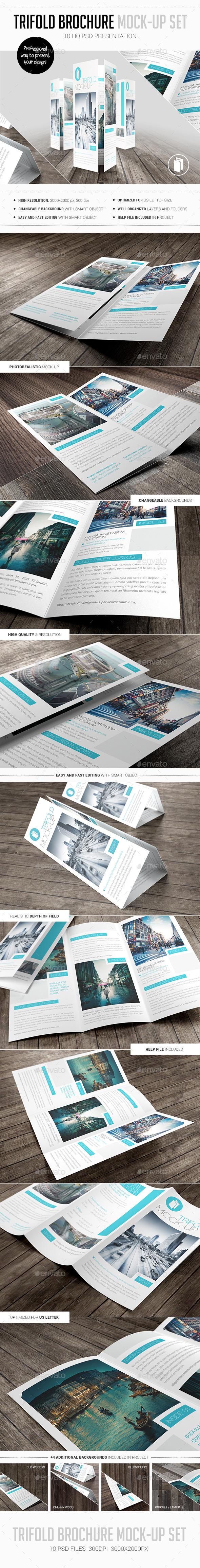 Trifold Brochure Mock-Up Set - Brochures Print