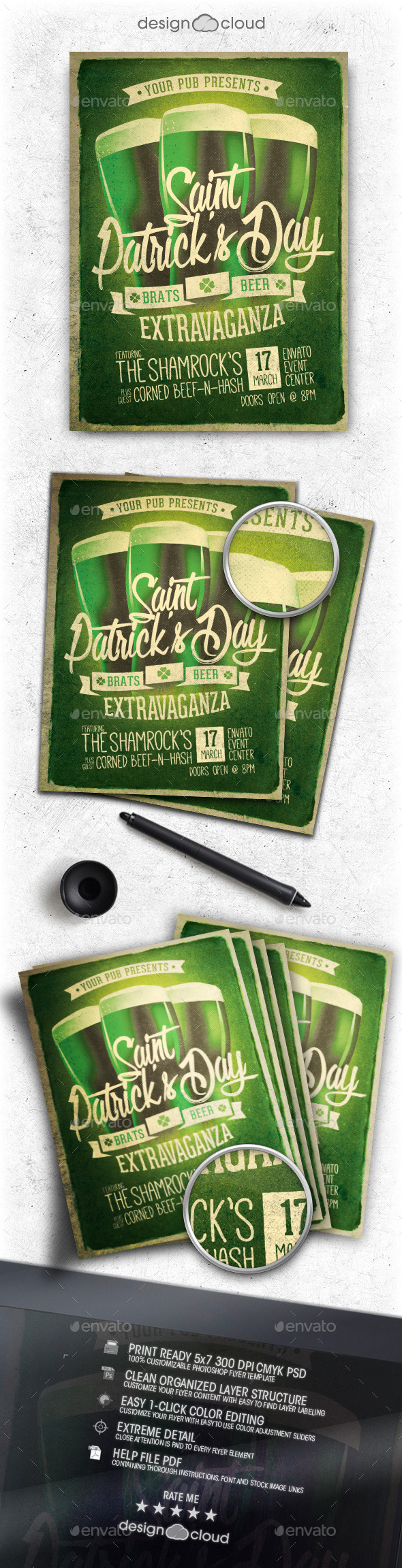 Retro St. Patrick's Day Party Flyer Template - Holidays Events