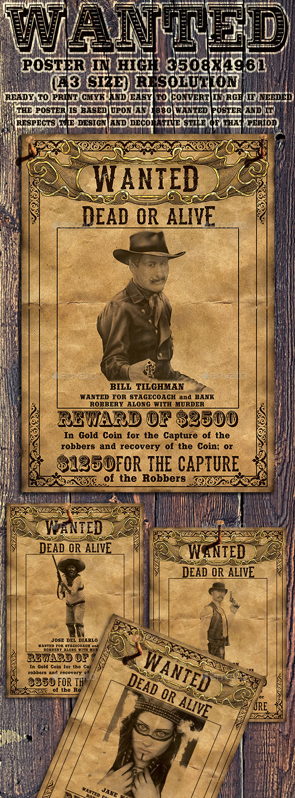 Wild West Wanted Poster - Miscellaneous Print Templates