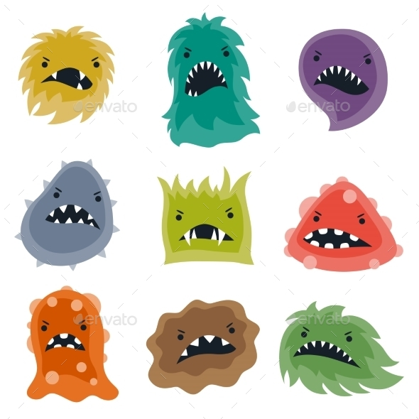 Set of Little Angry Viruses and Monsters - Health/Medicine Conceptual