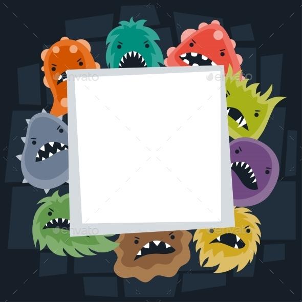 Background with Little Angry Viruses and Monsters - Health/Medicine Conceptual