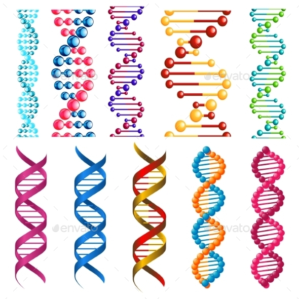 Colorful DNA Molecules and Cells - Health/Medicine Conceptual