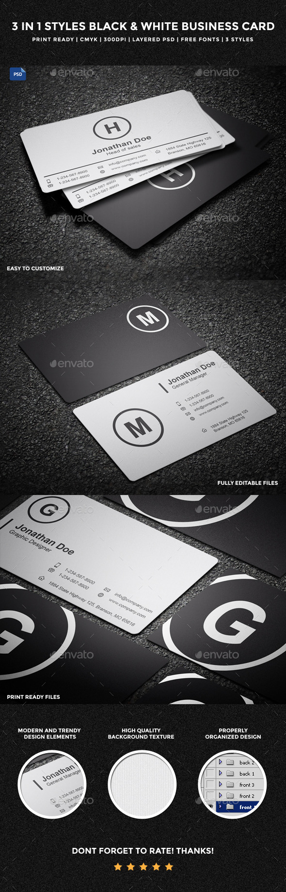 3 in 1 Styles Black & White Business Card - 14 - Corporate Business Cards