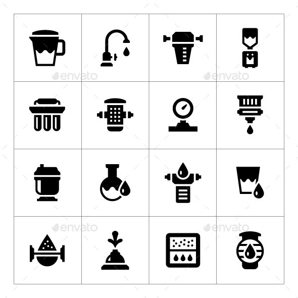 Set Icons of Water Filters - Man-made objects Objects