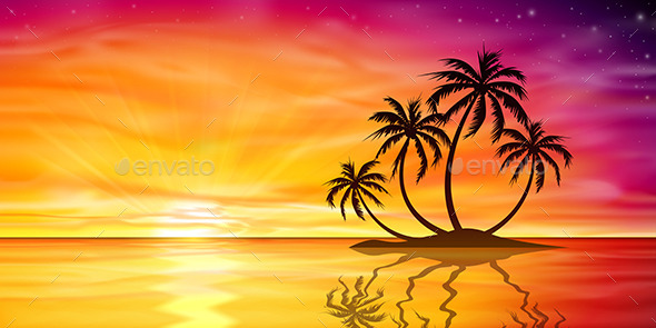 Sunset, Sunrise with Palm Trees - Landscapes Nature