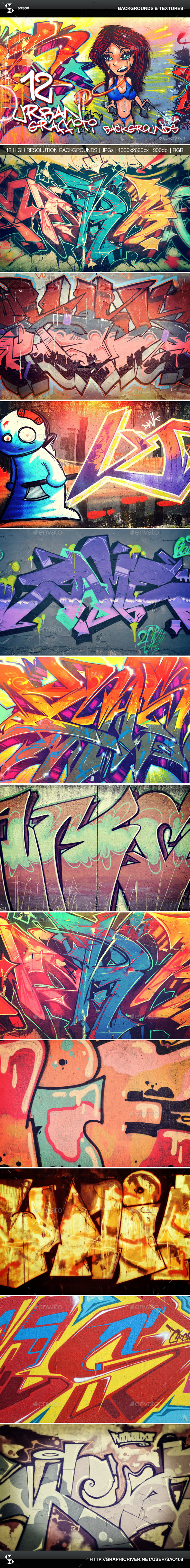 Urban Graffiti Backgrounds - Collection 1 - Urban Backgrounds