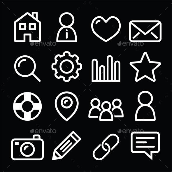 Website Menu Navigation Icons - Web Technology