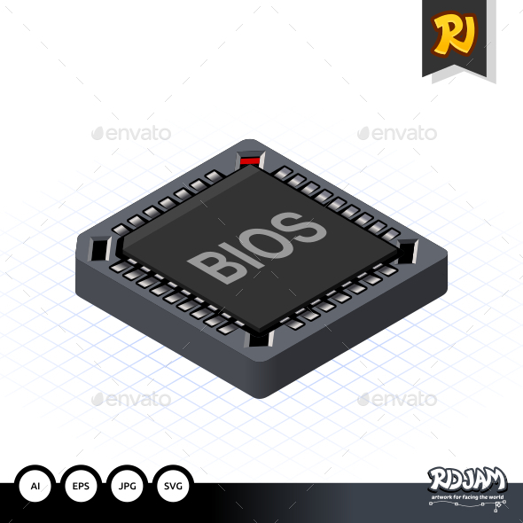 Isometric BIOS Chip - Computers Technology