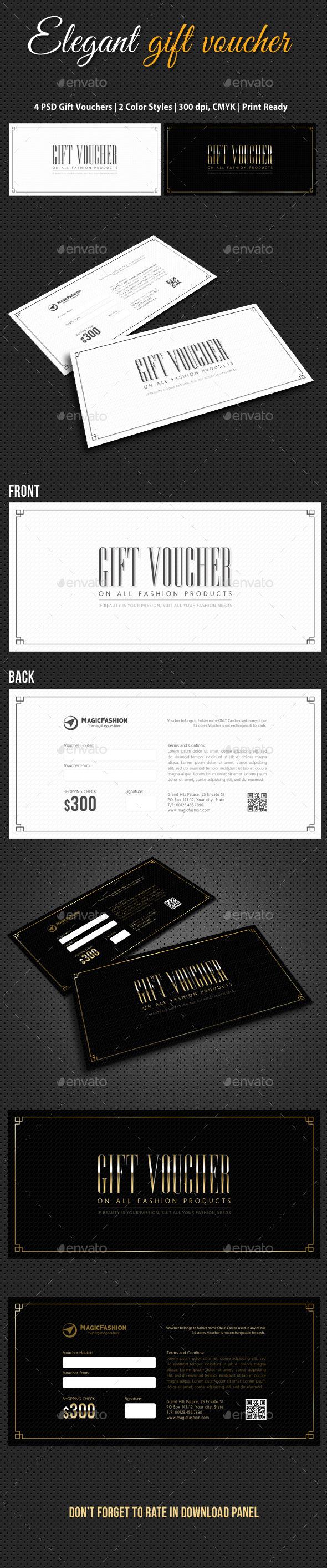 Elegant Gift Voucher V02 - Cards & Invites Print Templates