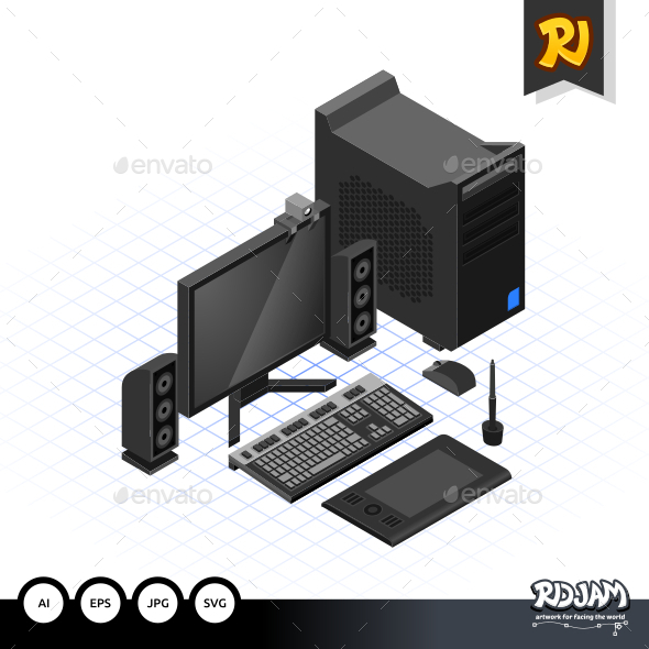 Isometric Computer Set - Computers Technology