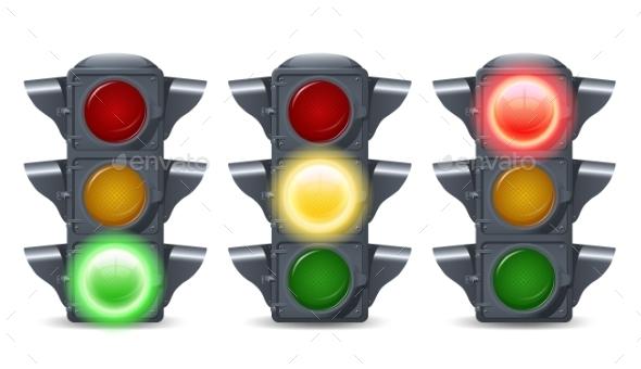 Traffic Lights Set - Objects Vectors