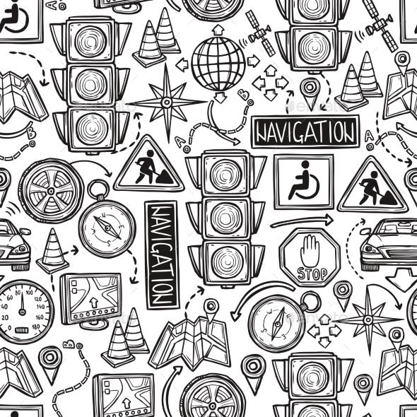 Navigation Seamless Pattern - Technology Conceptual