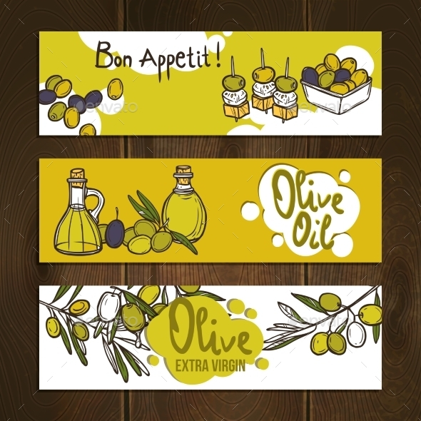 Olive Banners Set - Food Objects