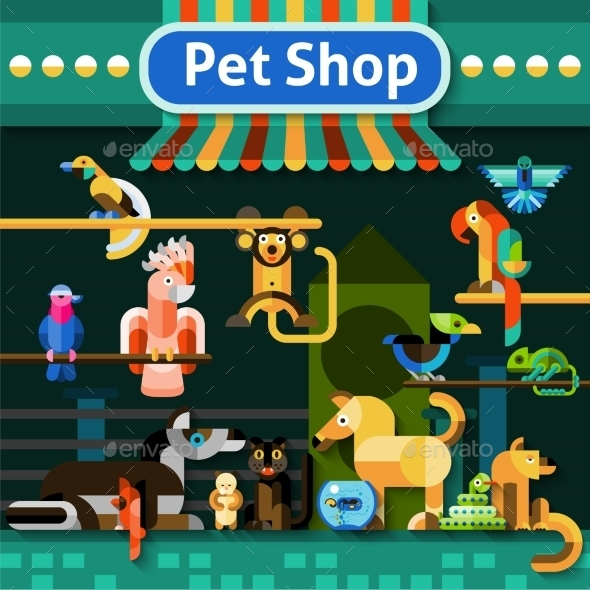 Pet Shop Background - Animals Characters