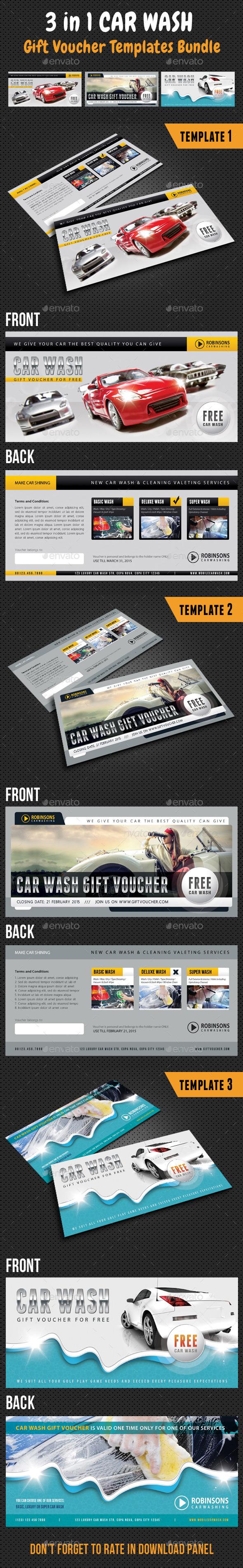 3 in 1 Car Wash Gift Voucher Bundle - Cards & Invites Print Templates